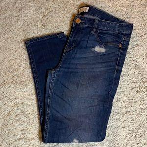 Express Dark Wash Distressed Boyfriend Jeans
